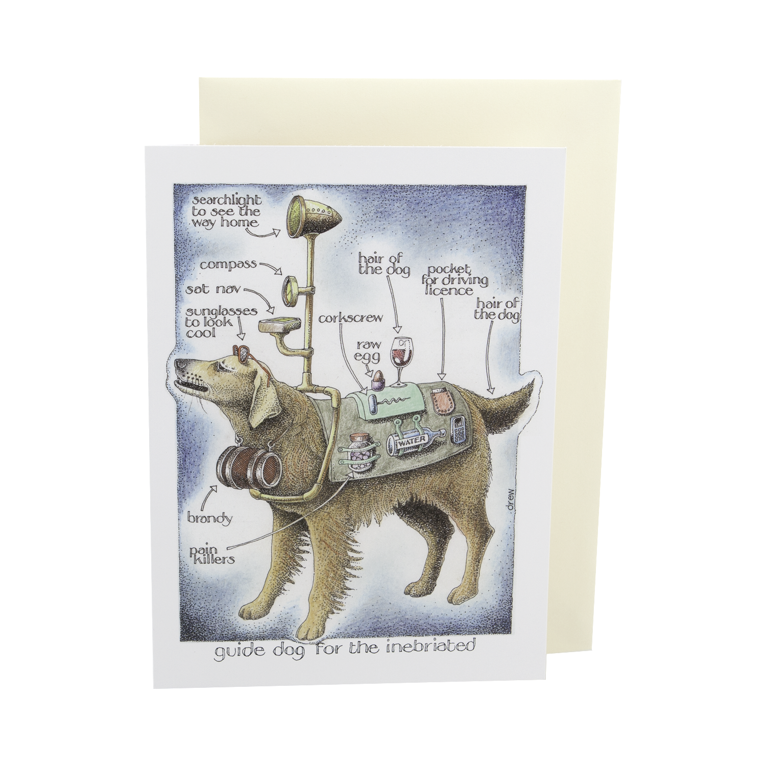 "DogKrazy.Gifts – Simon Drew Guide Dog For The Inebriated Card, Humorous card featuring a Golden Retriever ""guide dog"" for the drunk. Part of the Simon Drew Dog Collection available from Dog Krazy Gifts"