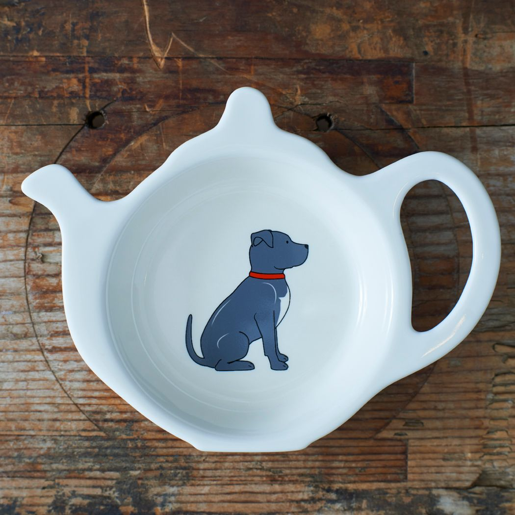 Dog Lover Gifts available at Dog Krazy Gifts – Bree the Staffordshire Bull Terrier Teabag Dish - part of the Sweet William range available from www.DogKrazyGifts.co.uk