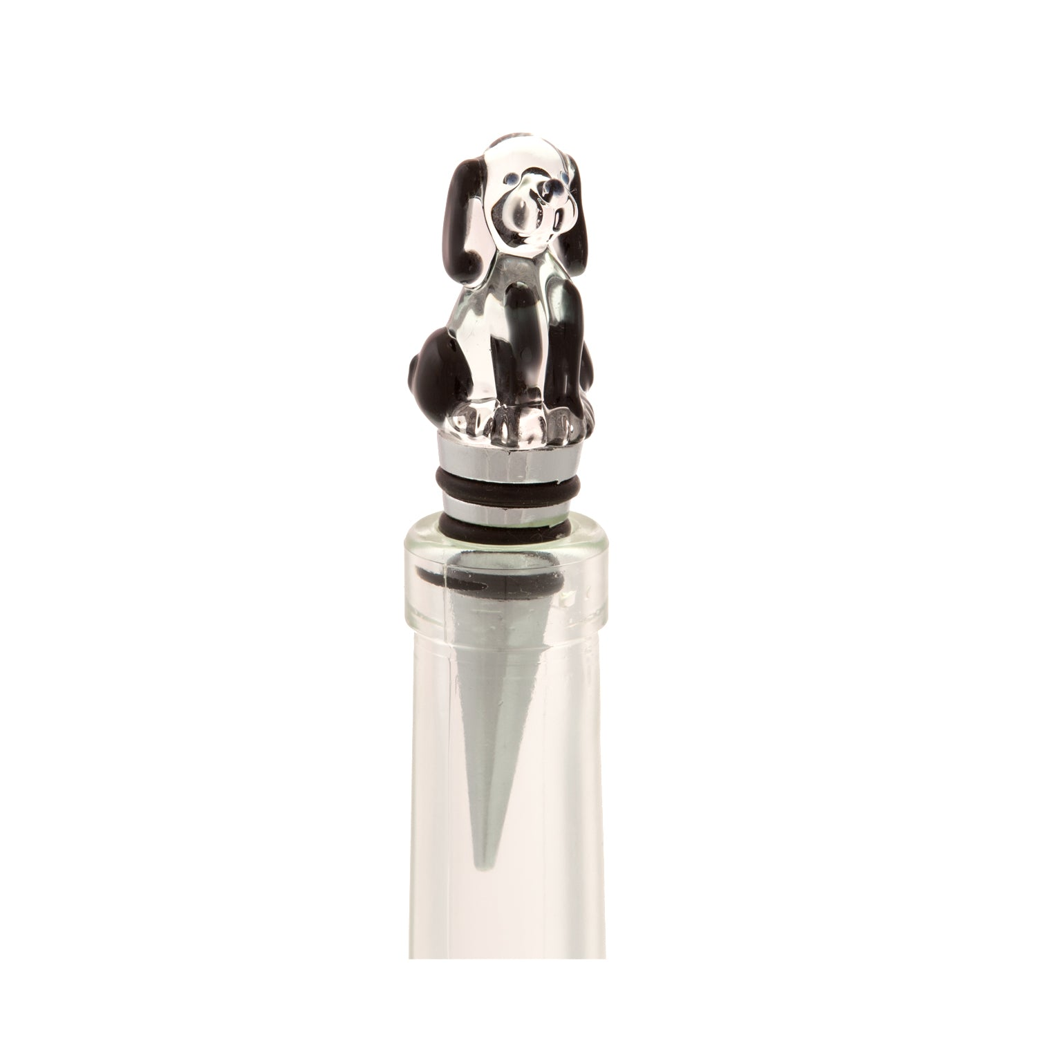 DogKrazy.Gifts – Glass Dog Bottle Stopper – clear glass with black details part of the huge range of dog themed gifts available from Dog Krazy Gifts