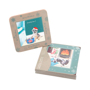 DogKrazyGifts - digs and manor Christmas Coaster Set - part of the Little Dog Range available from Dog Krazy Gifts