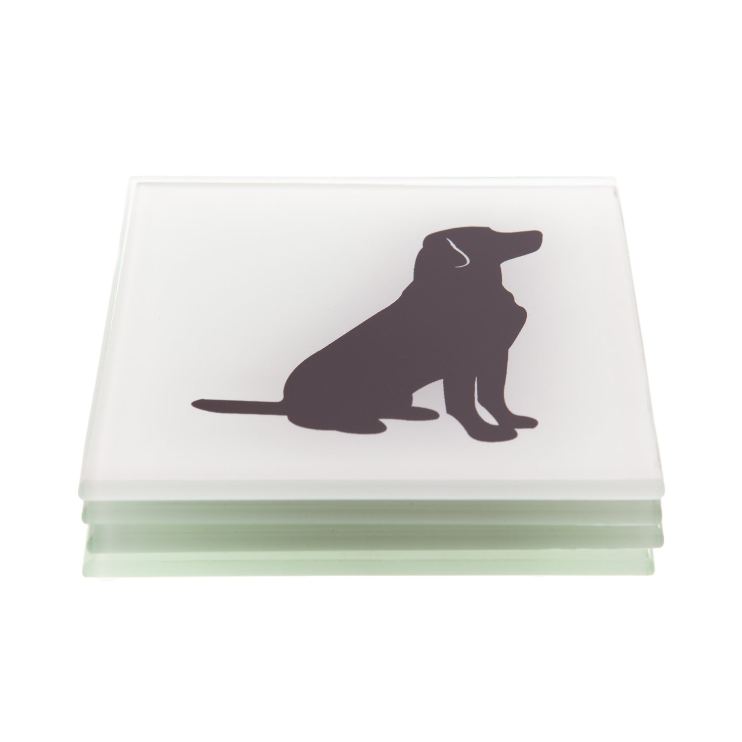 Dog Lover Gifts available at Dog Krazy Gifts - Sitting Black Labrador Glass Coasters- Part of the Labrador range available from Dog Krazy Gifts