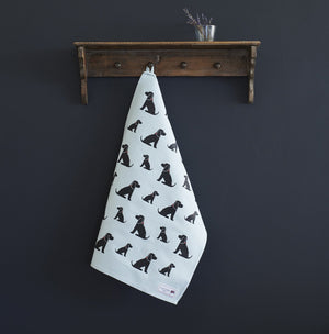 Dog Lover Gifts - Dog Krazy Gifts - Black Cocker Spaniel Organic Tea Towels - part of the Sweet William range available from www.DogKrazyGifts.co.uk