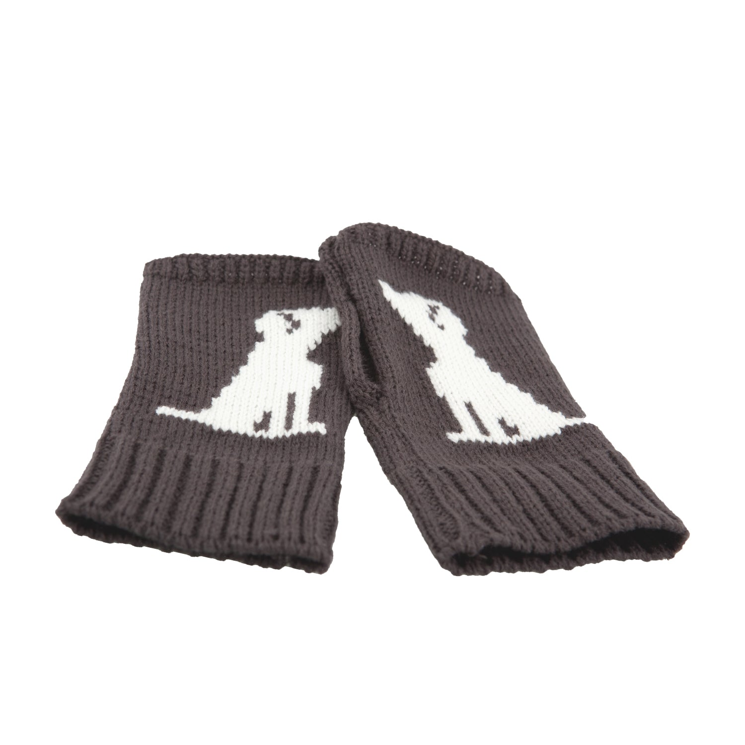 DogKrazy.Gifts –Large Breed Fingerless Gloves – Charcoal grey with a white large breed dog  motif, makes a great gift for walking the dog available from Dog Krazy Gifts