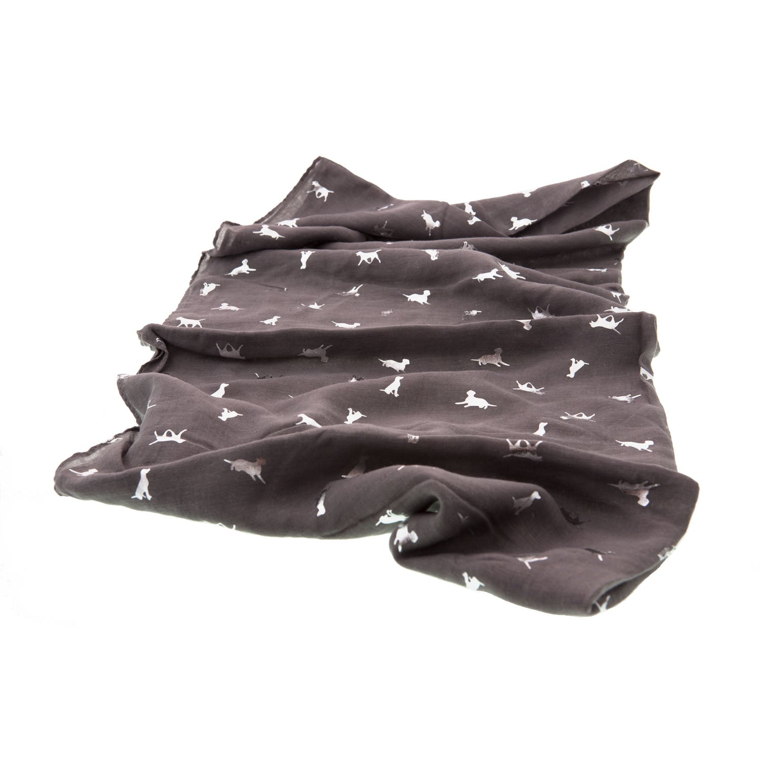 DogKrazy.gifts - Silver Labrador Scarf, Grey with silver prints of Labradors in various positions . Available from Dog Krazy Gifts