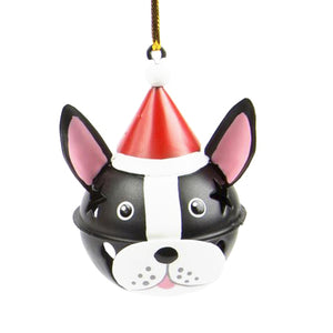 DogKrazy.Gifts – Christmas Tree bell bauble in the shape of a Black and White Dog's head available from Dog Krazy Gifts