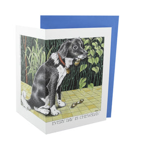 Dog Lover Gifts available at Dog Krazy Gifts - Everyday Is Chewsday Card - Part of the Simon Drew dog collection available from Dog Krazy Gifts