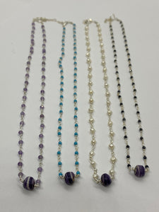 Pear and wampum bead necklace