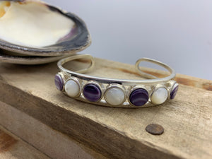 Wampum and mother of pearl silver cuff