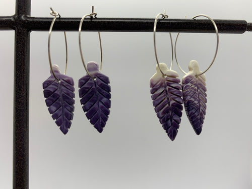 Wampum feather earring