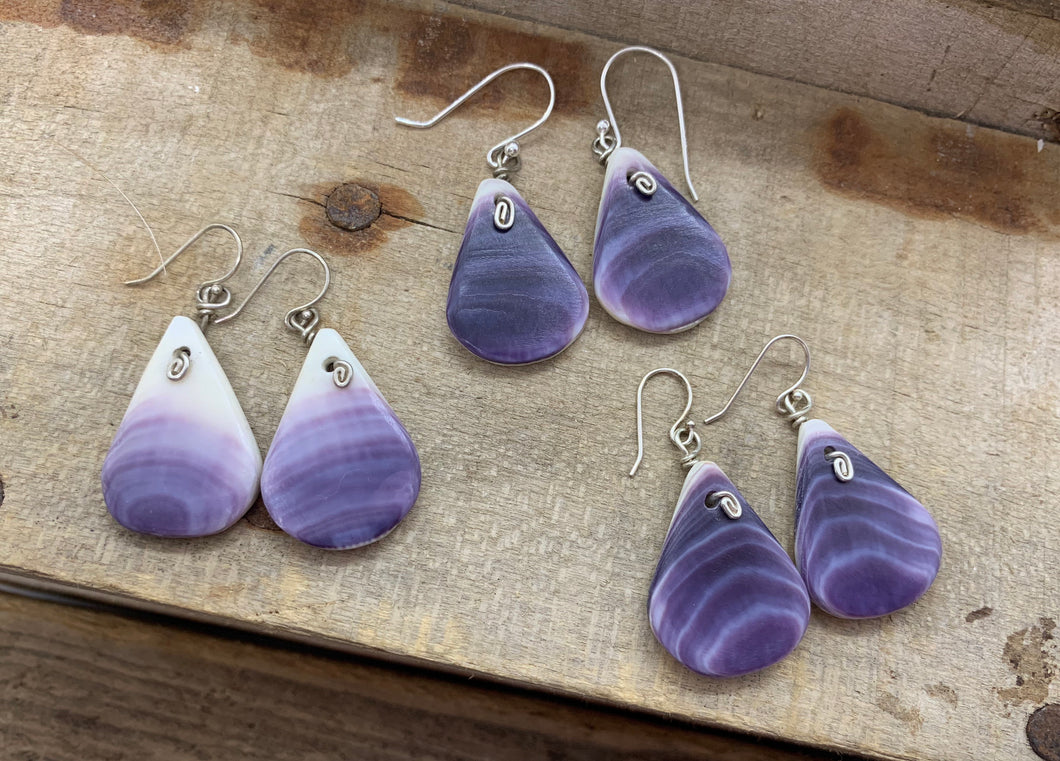 Wampum tear drop earring
