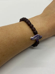 Dark purple glass bead bracelet wampum clasp