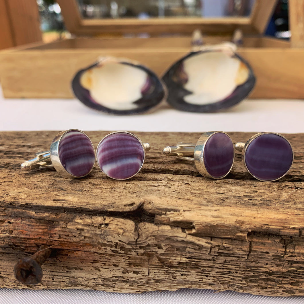 Wampum cuff links bezel set