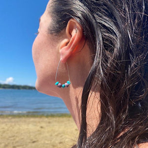 Wampum earring hoops with turquoise