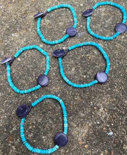 Wampum and turquoise bracelet