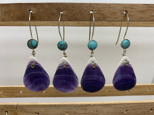 Tear drop wampum earring with turquoise