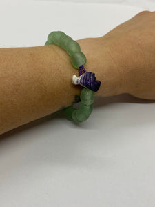 Sea glass green glass bead bracelet wampum clasp
