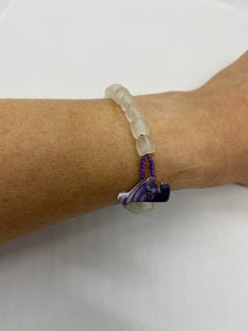 White glass bead bracelet wampum closure