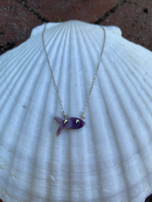 Tiny fish necklace silver