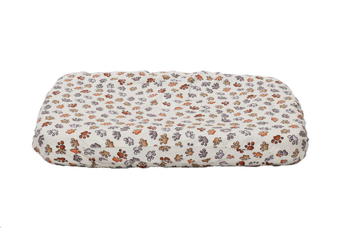 Dog bed cover with paw prints