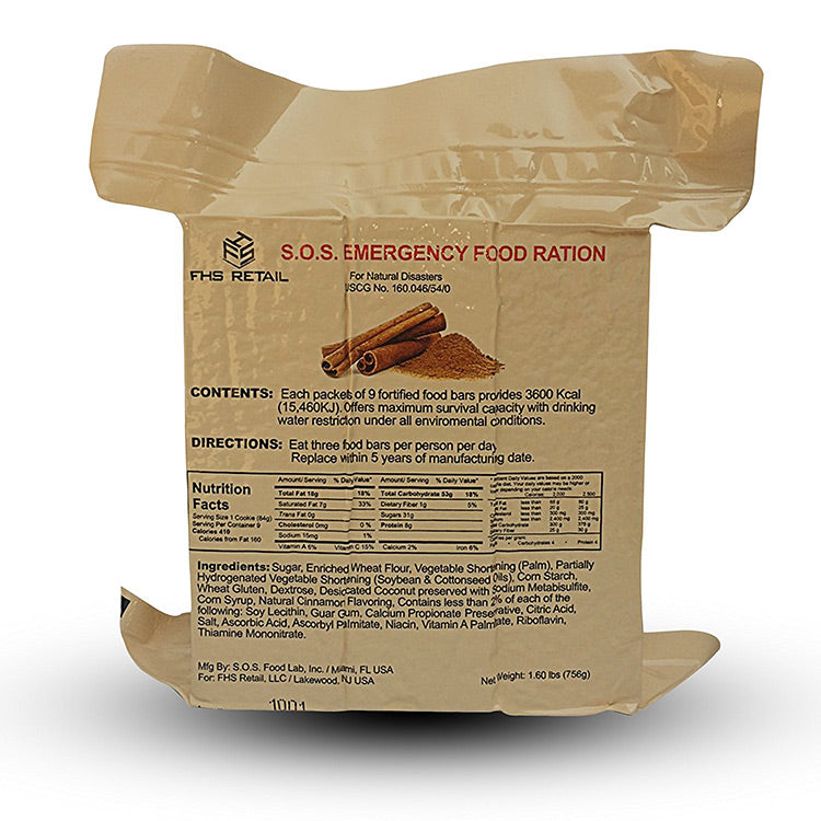 Cinnamon 9 day/216 hour 3600 calorie food bar,Continuum Prepper,emergency food