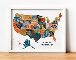 Eat Your Way Through the USA - Scratch Off Poster