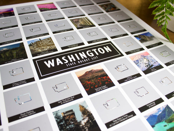 Washington State Bucket List Scratch Off Poster