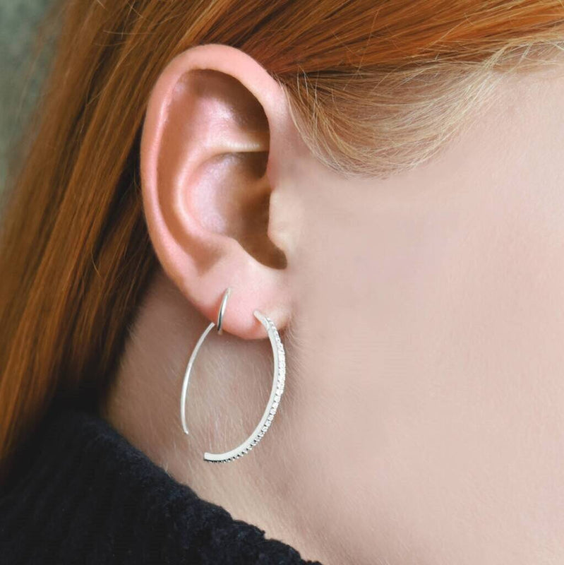 Open Hoop Silver Sparkling White Topaz Earrings