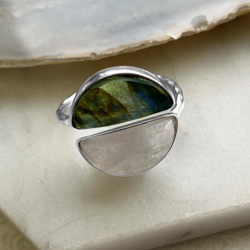Adjustable Silver Moonstone/Labradorite Moon Shape Ring