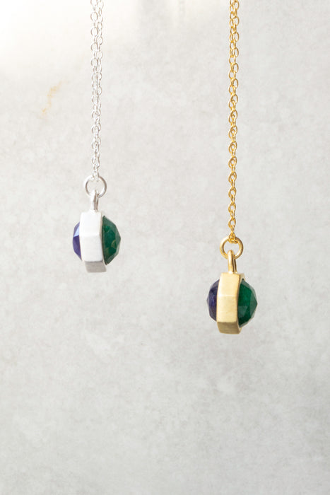 Gold Tiny Blue And Green Kyantie Charm Necklace