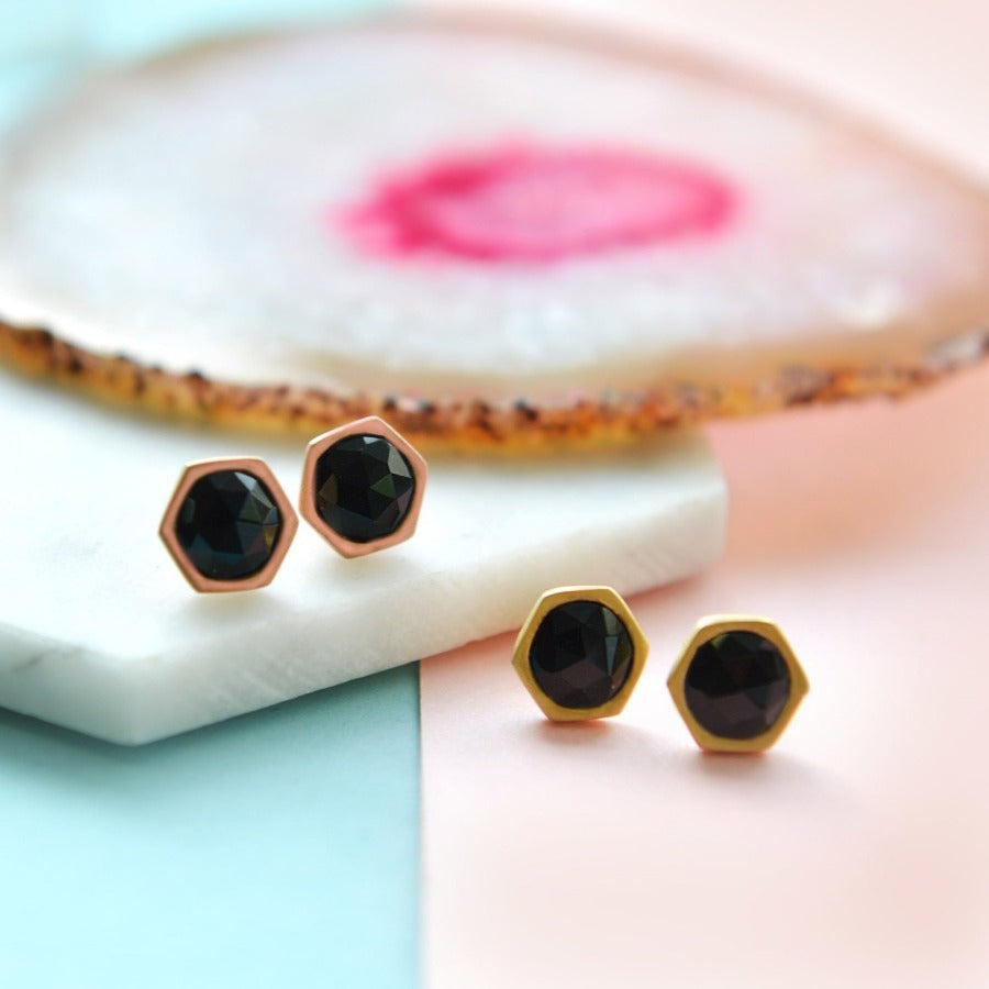Yellow Gold Black Spinel Studs