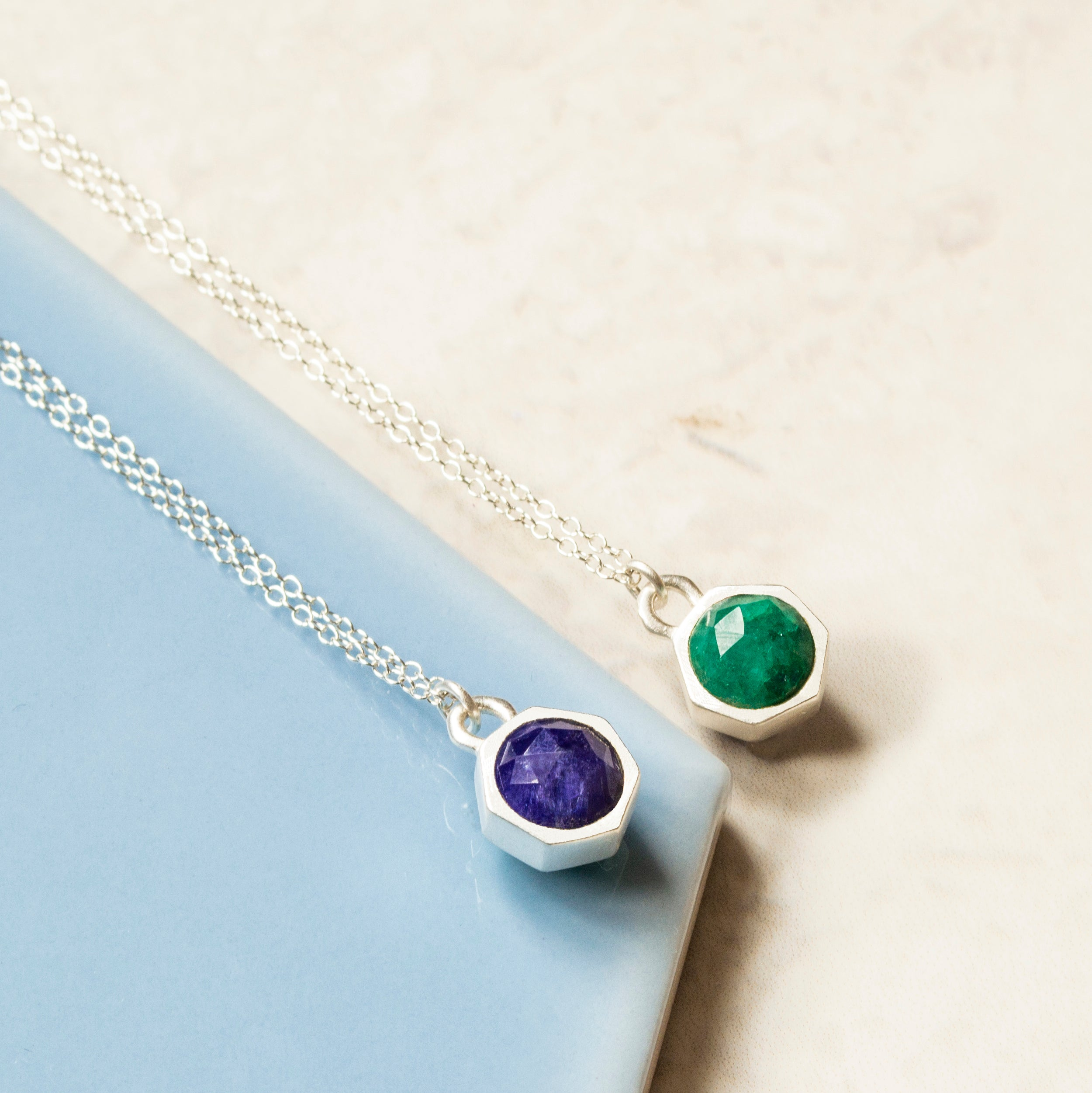 Silver Tiny Blue And Green Kyantie Charm Necklace