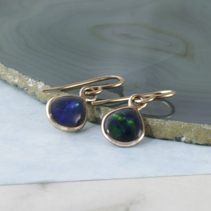 Black Opal October Birthstone Rose Gold Drop Earrings