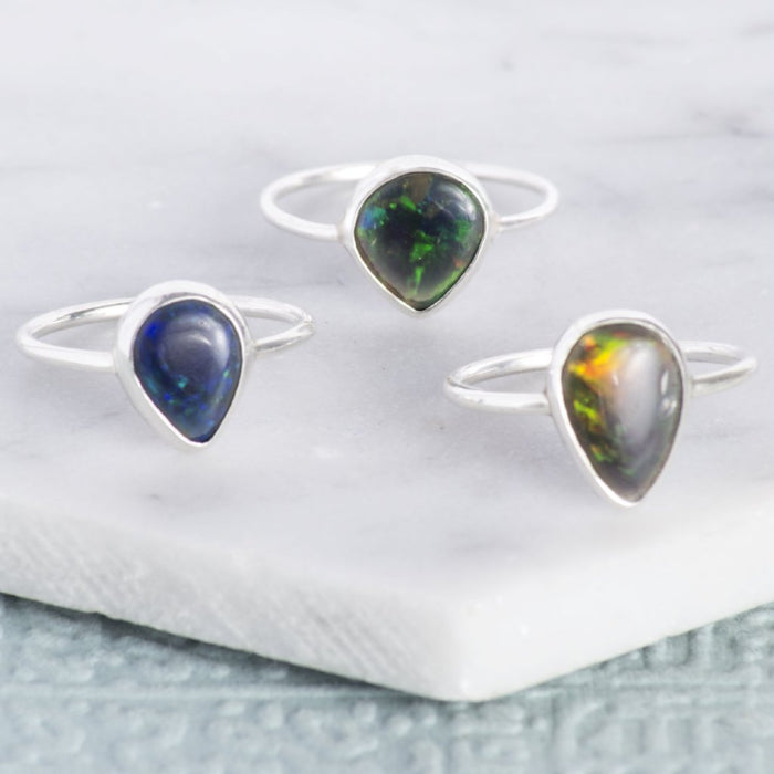 Black Opal October Birthstone Silver Ring