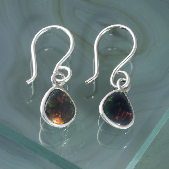 Silver Black Opal Birthstone Drop Earrings