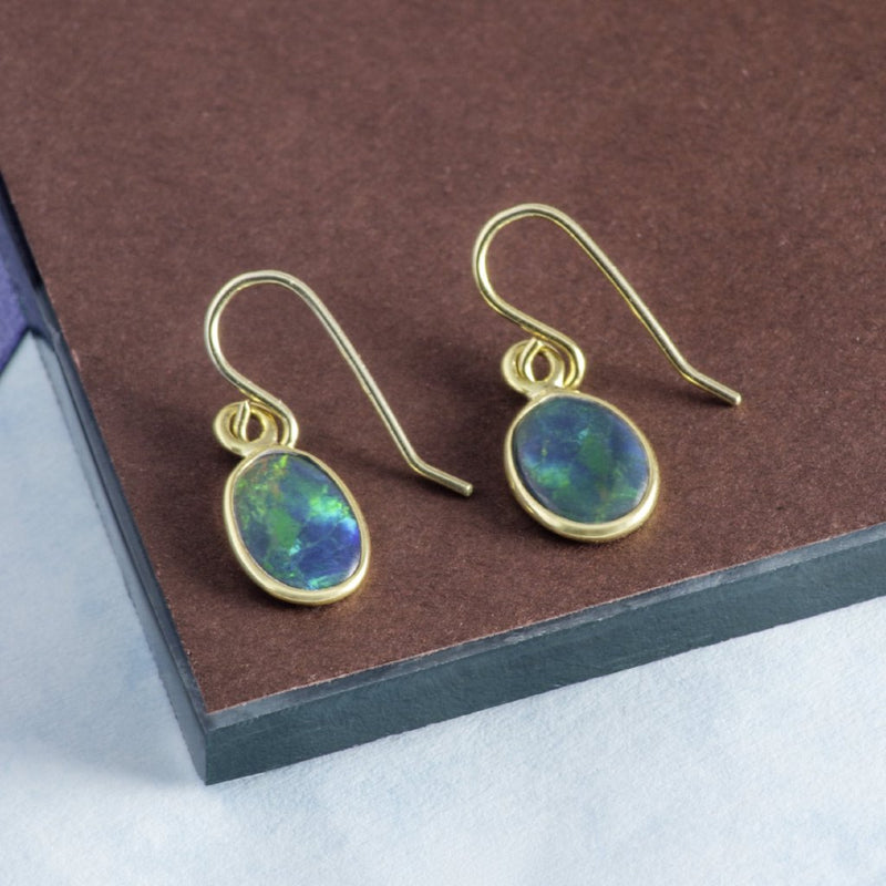 Rare Black Opal Gold Gemstone Earrings