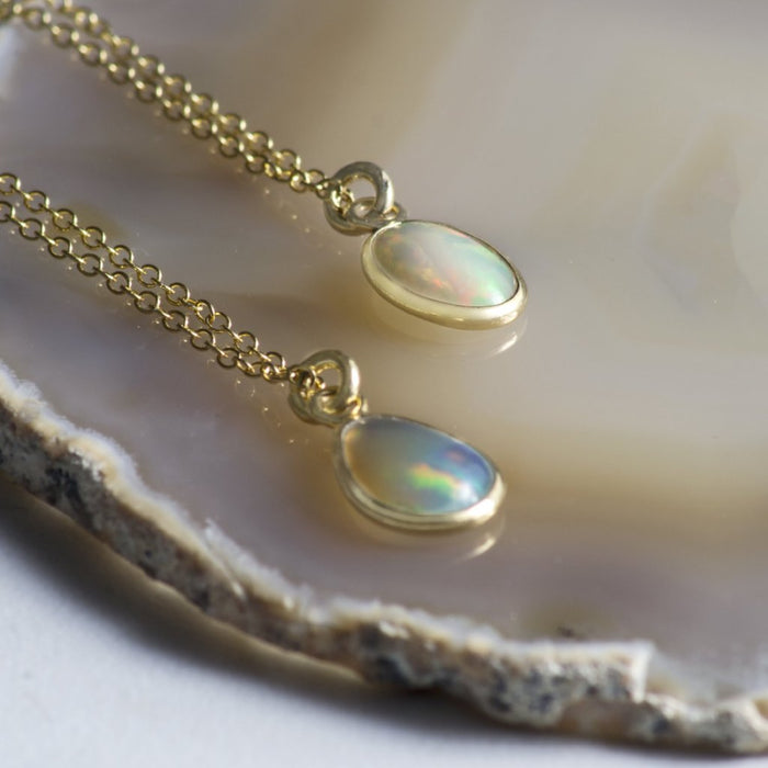 Gold Ethiopian Opal Birthstone Necklace