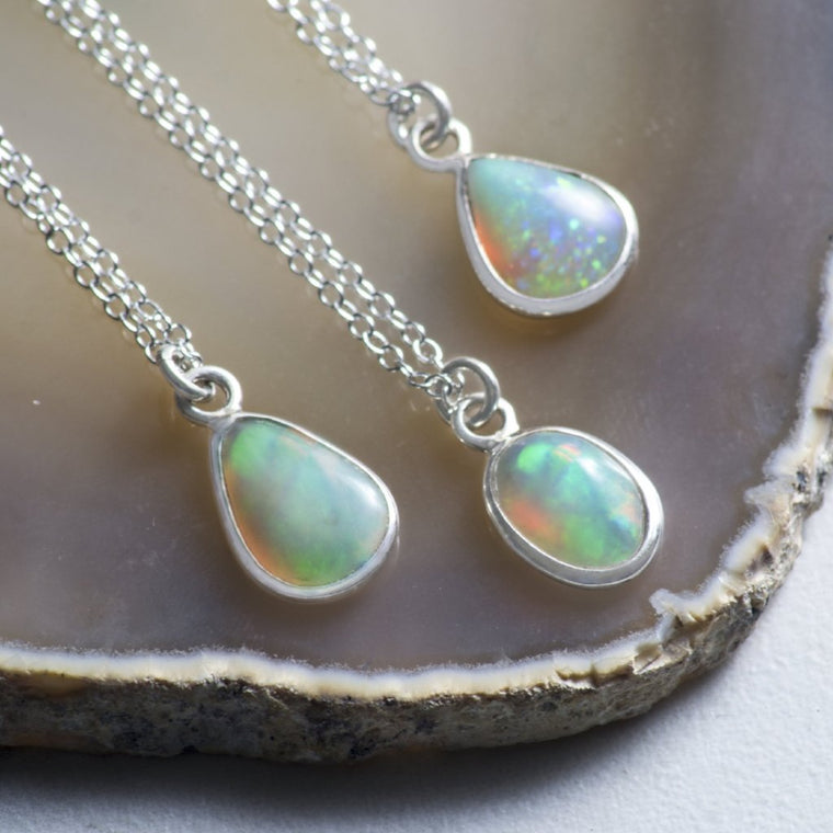Silver Natural Opal Pendant Necklace