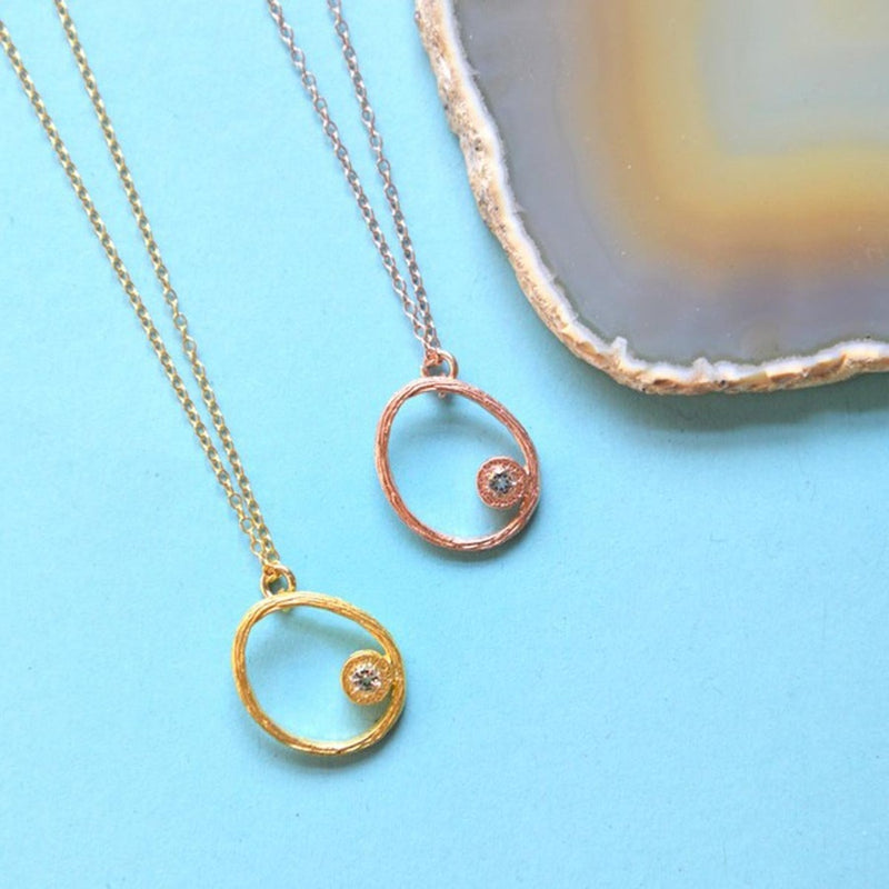 Yellow Gold / Rose Gold White Topaz Oval Necklace