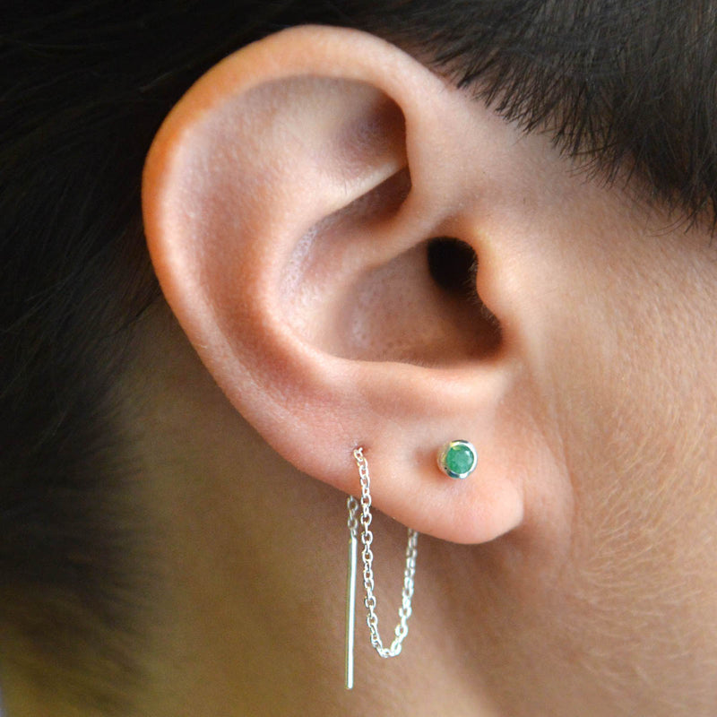 Gold Emerald Threader Earrings