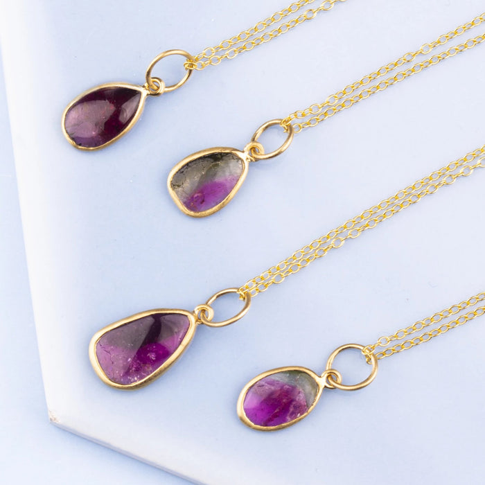 Gold Watermelon Tourmaline Delicate Necklace