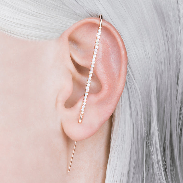 Rose Gold White Topaz Pin Ear Cuff Earrings