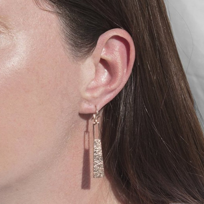 Textured Rose Gold Long Drop Earrings