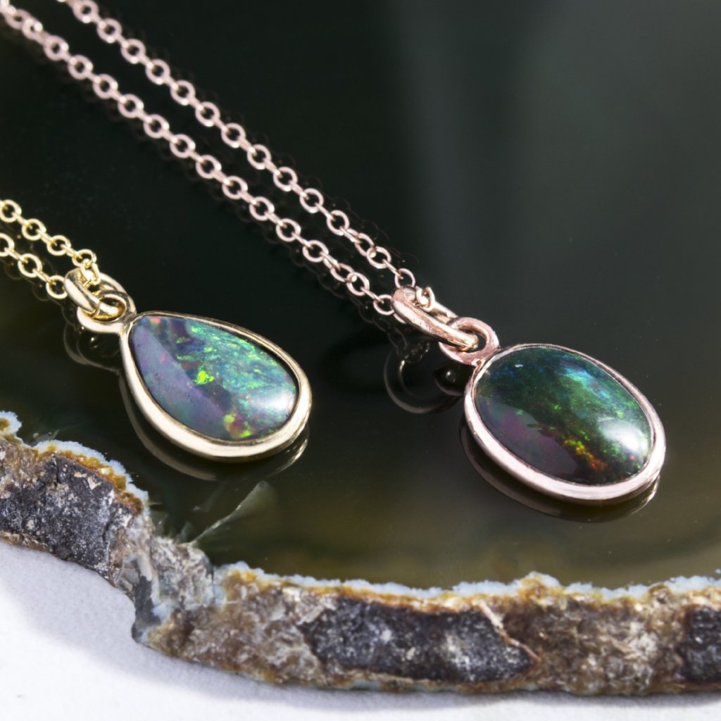 Gold/Rose Gold Black Opal Birthstone Necklace Pendant