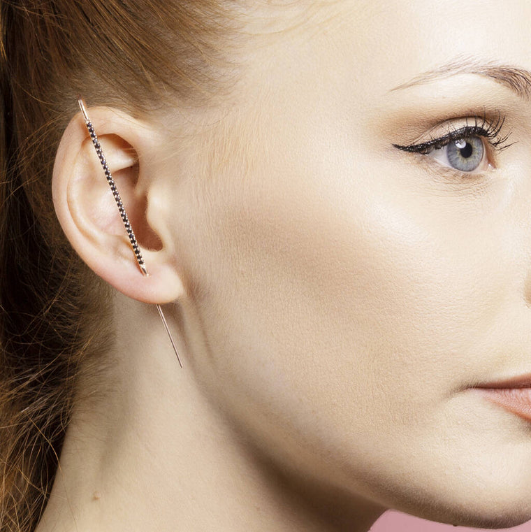 Black Spinel Rose Gold Plated Ear Cuff Earrings
