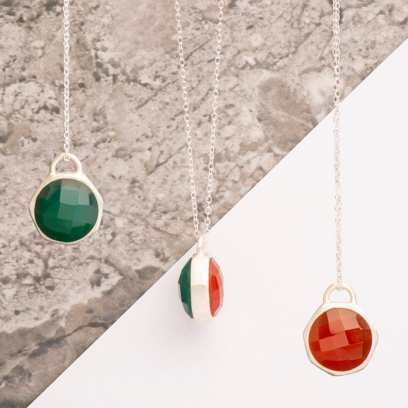 Double Sided Red/Green Onyx Silver Gemstone Necklace