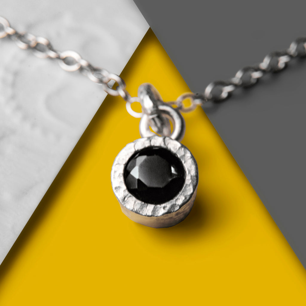 Sterling Silver Black Spinel Textured Round Necklace