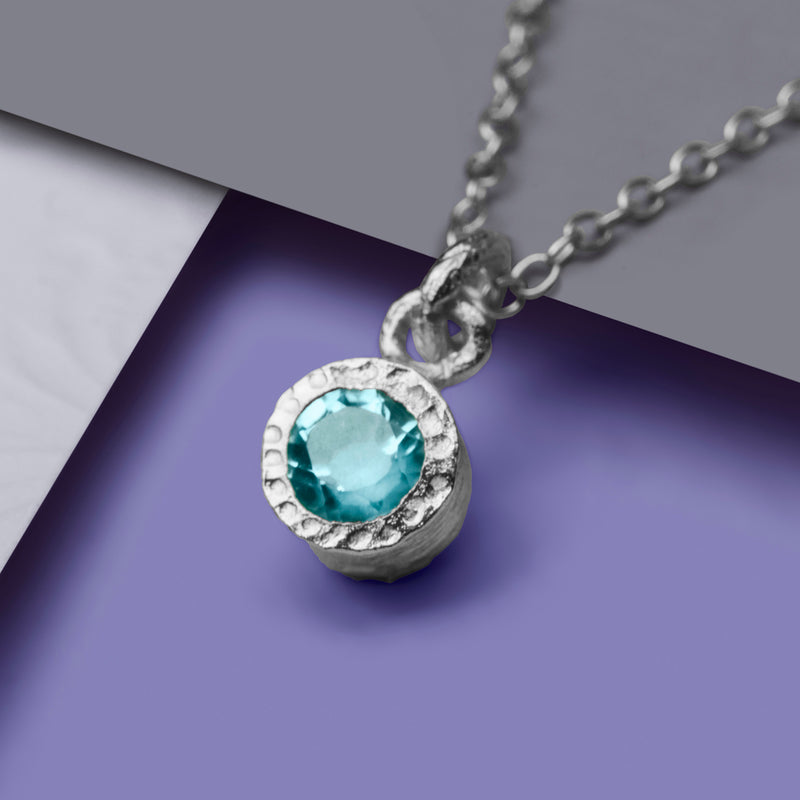 Blue Topaz Gemstone Silver Textured Necklace