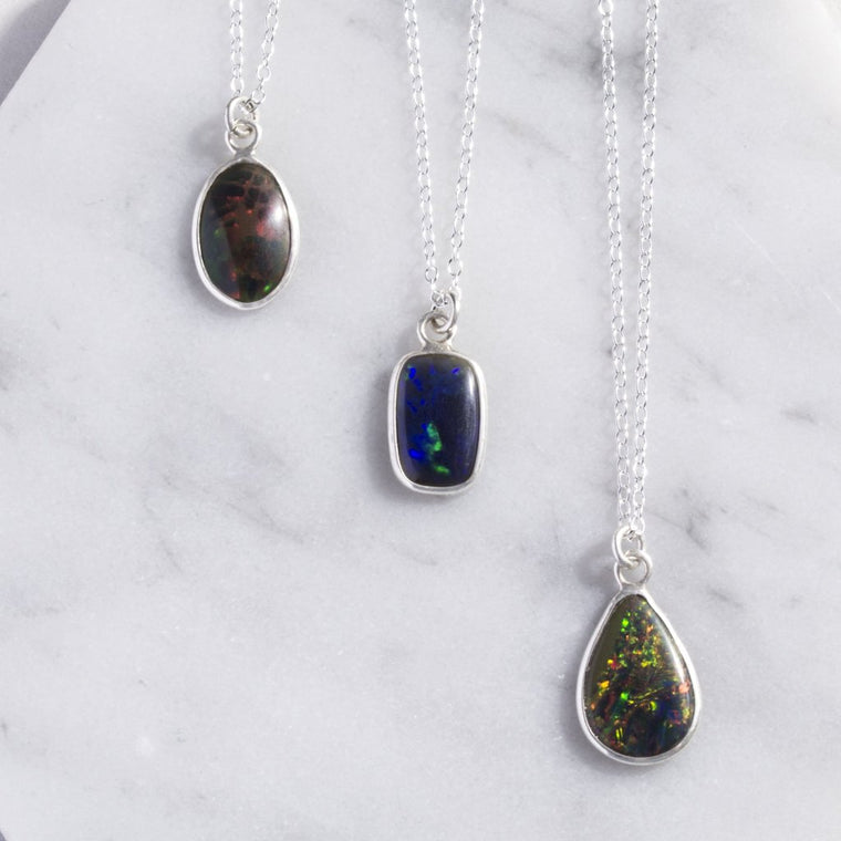 Natural Black Opal Silver Birthstone Necklace
