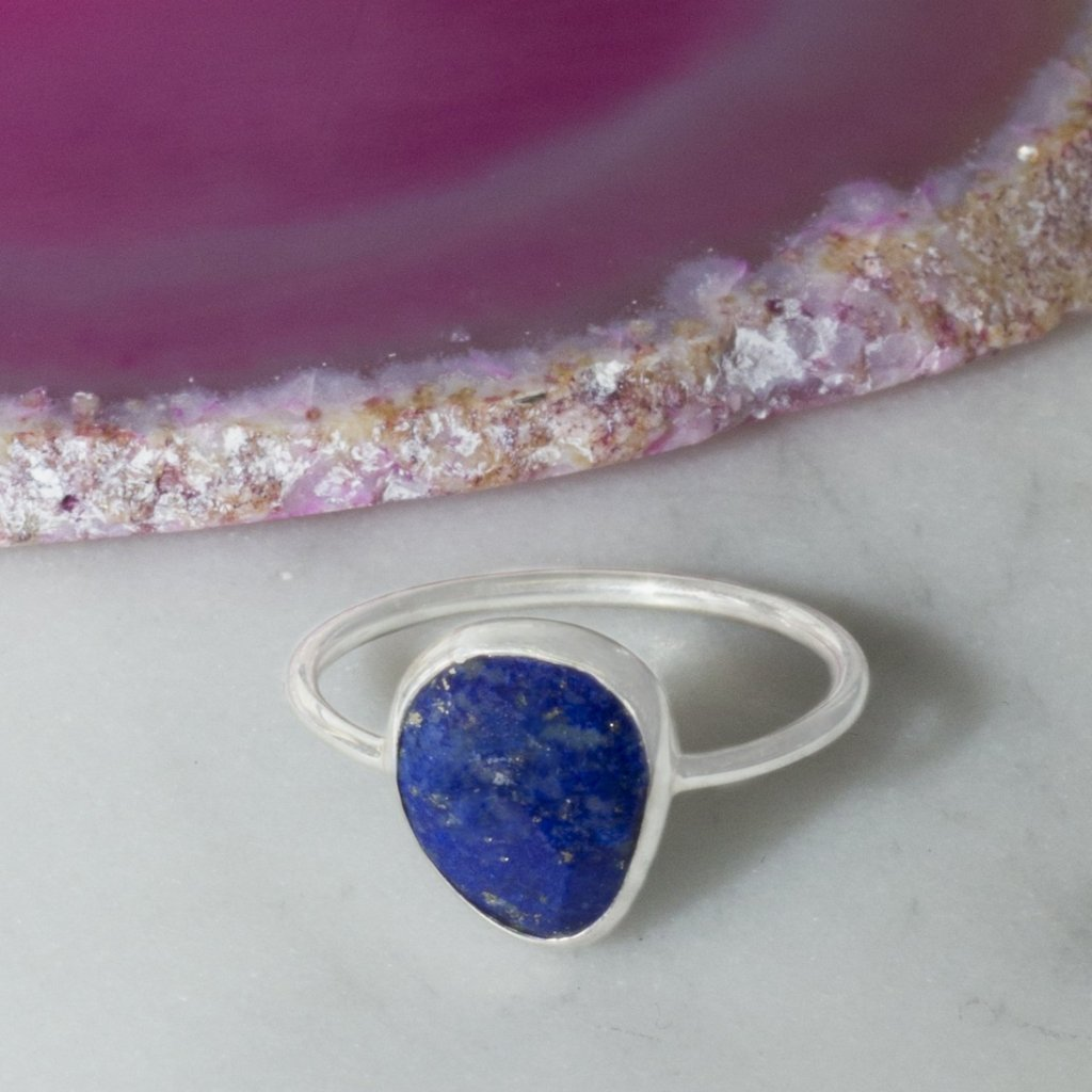 Silver Lapis Lazuli Gemstone Cocktail Ring