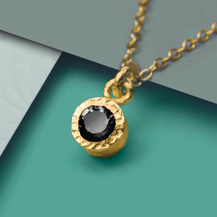 Gold And Black Spinel Dot Birthstone Necklace